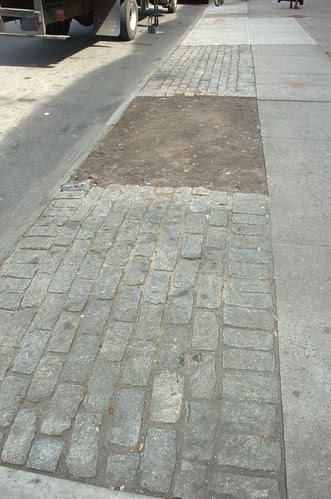 Cobblestone sidewalk margin, Cortelyou Road, South side, West of Rugby Road