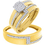 Diamond Trio Set Matching Engagement Ring Wedding Band 10K Yellow Gold 1/3 Ct