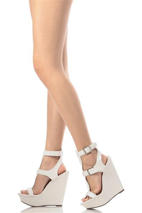 White Wedge Heels With Ankle Strap   Mad Heel