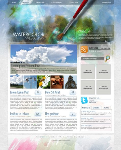 Create a Watercolor Themed Website in Photoshop