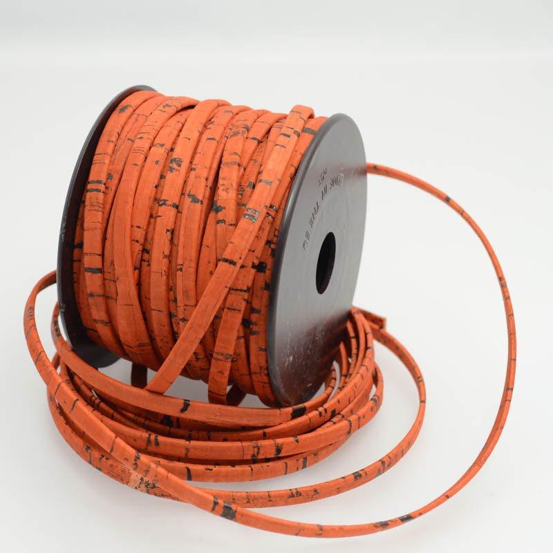 s39343 Leather - 5 mm Cork Leather - Flat - Sunset Orange (Inch)