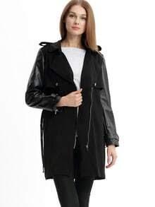 Black Long Sleeve Lapel Zipper Trench Coat