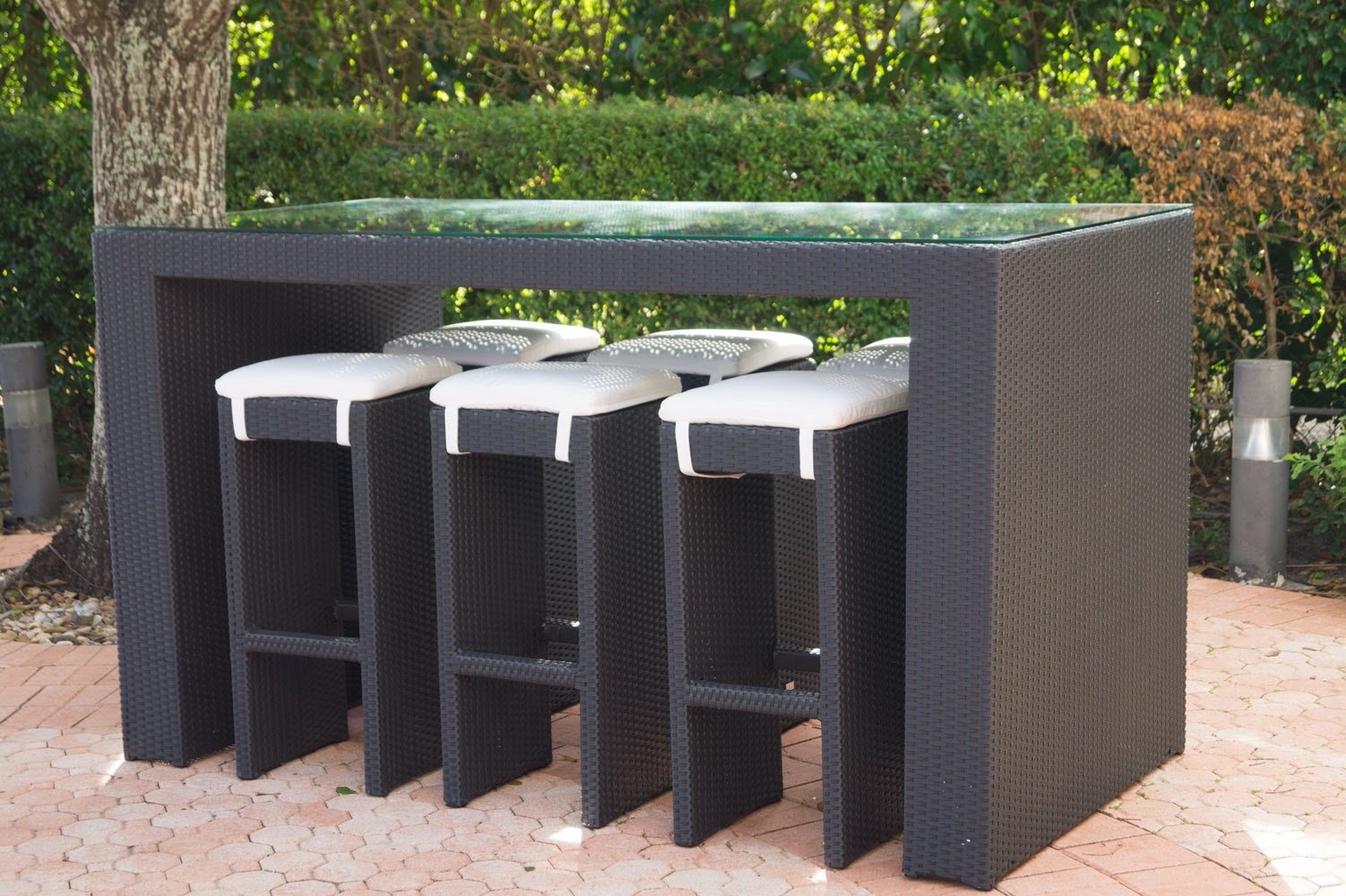 Ambrosia Outdoor High Top Glass Bar Table and Six Stools ...