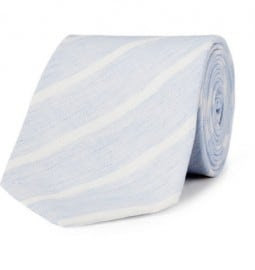 Richard James Classic Striped Cotton And Linen-blend Tie