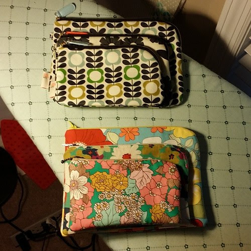 My pouch set. I need to work on the shape of the bottom corners, round them some more.