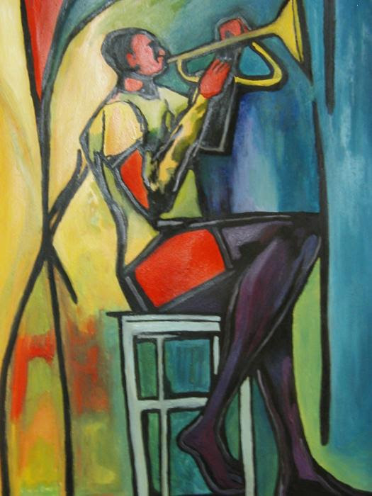 Jazz Trumpet Player Painting - Jazz Trumpet Player Fine Art Print