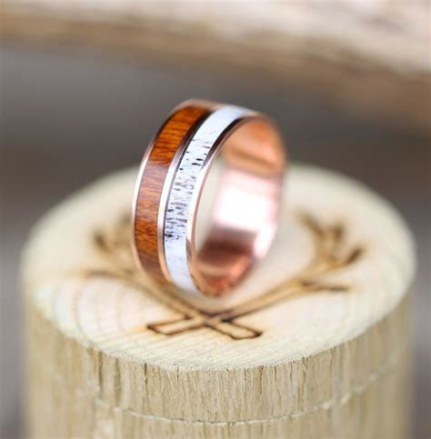 14K ROSE GOLD WEDDING BAND WITH WOOD & ANTLER (available