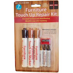 Handy Housewares 7 Piece Wood Touch Up Repair Kit - for Wood Furniture & Flooring - 3 Markers, 3 Sticks and 1 Sharpener - 1 Set