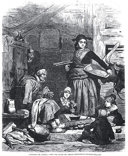Costumbres de Castilla, el cuento del abuelo, grabado de Valeriano Becquer
