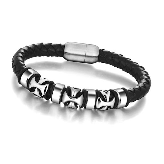 Genuine Leather Cross Stainless Steel Bracelets & Bangles Hiphop Jewelry Fashion Men's Bracelet