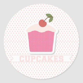 Cupcakes & Polka Dots {cupcake toppers/stickers}
