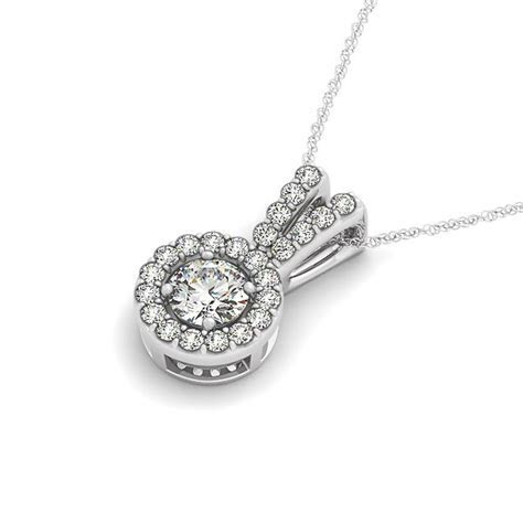 Round Pendant with Split Bail and Diamond Halo in 14k