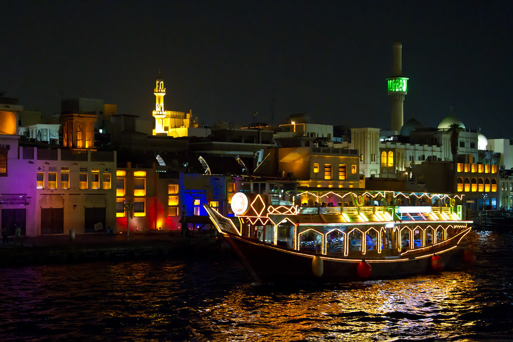 Dhow in a colorful evening