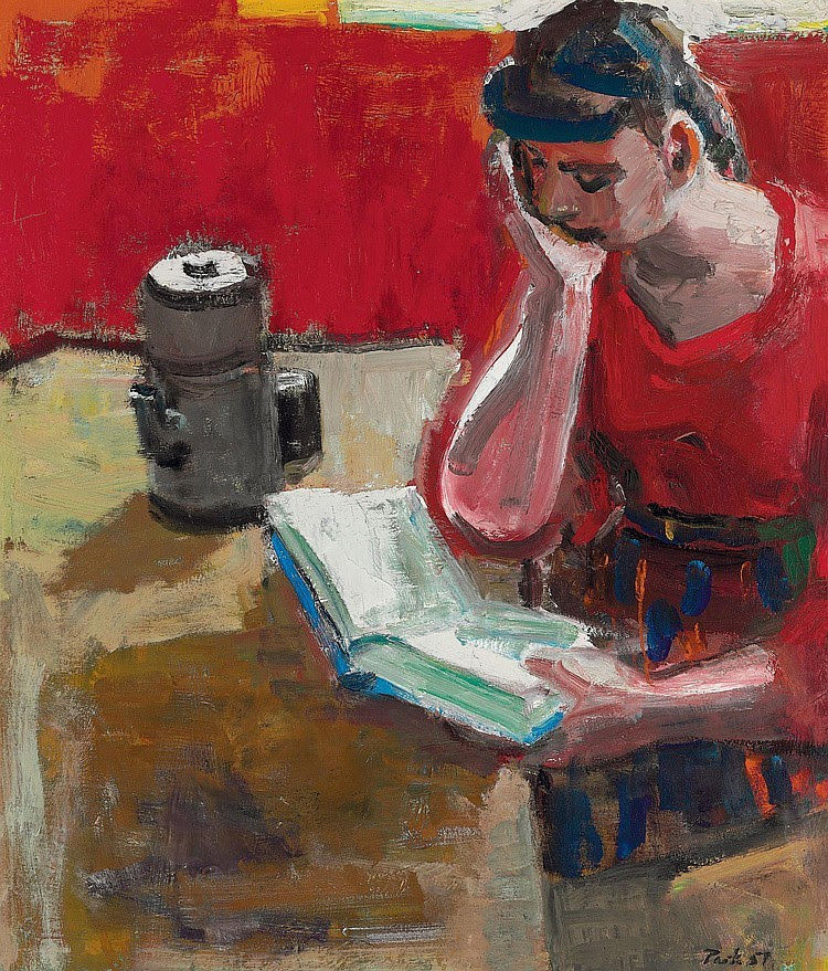 Woman Reading (1957). David Park (American, 1911-1960). Oil on canvas. In the 1950s, the San Francisco Bay Area was an epicenter for new thinking and artistic exploration. At the center was Park, whose bold colors and everyday subjects helped usher in a new modernism. In search of a form beyond the then-popular Abstract Expressionism. Park started the Bay Area Figurative Movement.