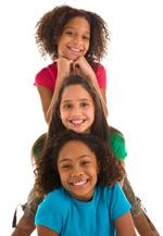 Three girls in a pyramid
