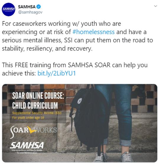 SOAR tweet on @samhsagov Twitter account