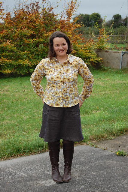Ottobre skirt and shirt modelled.