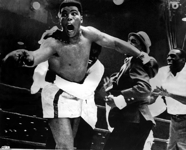 The fighter, who was known as Cassius Clay at the time, is pictured above in 1964 when he beat Sonny Liston. He said: 'I am the greatest, I'm the greatest that ever lived. I don't have a mark on my face'