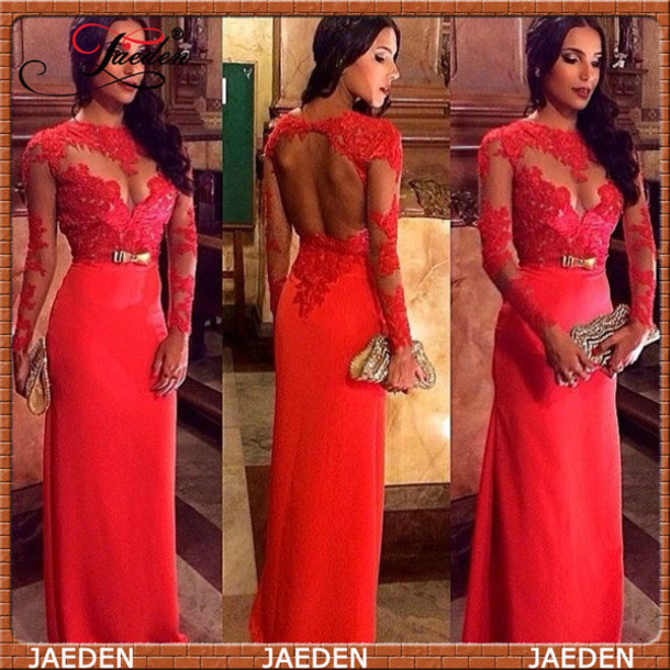 Red evening dresses lace