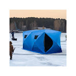Forest Grass USA 8 Person Waterproof Insulated Portable Pop-Up Ice Fishing Shelter with 2 Doors