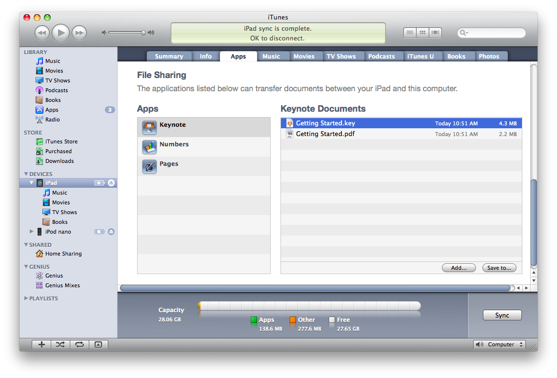 iTunes File Sharing tab