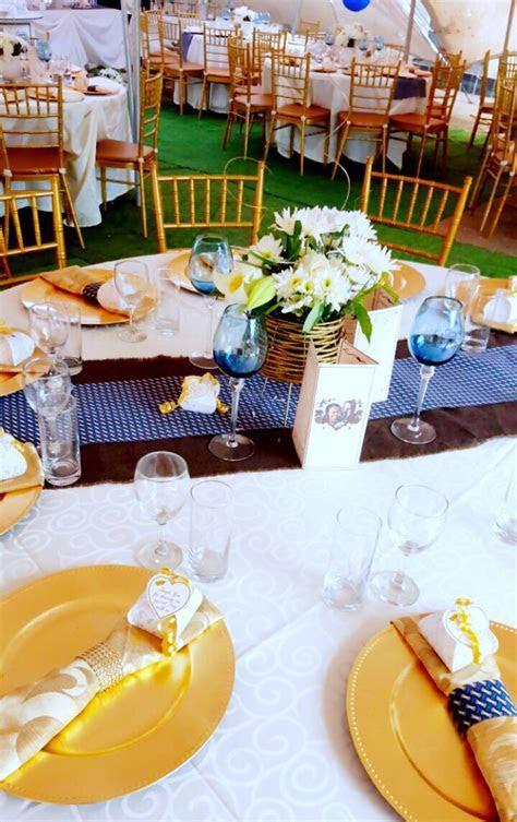 Gold and Royal blue traditional wedding decor at Shonga