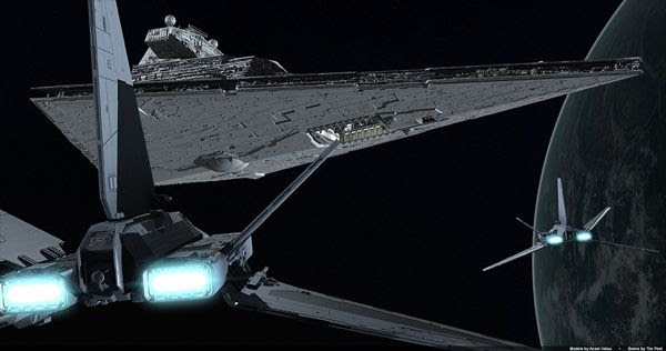 Another illustration depicting Assault Gunboats approach an Imperial Star Destroyer.