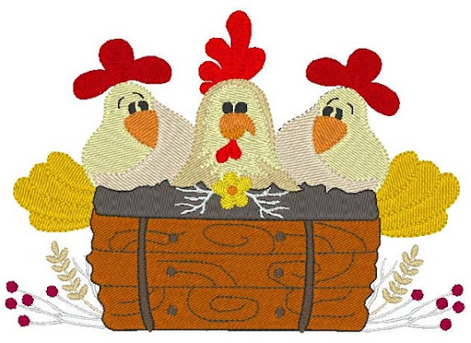 Chicken Fun Embroidery Design instant download chickens
