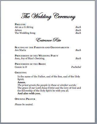 Spirals & Spatulas: Catholic Wedding Program