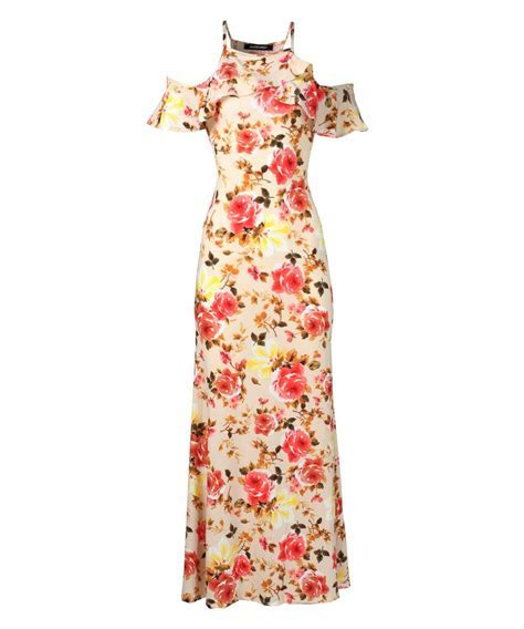 Women's Beach Wedding Guest Floral Ruffle Sleeve Maxi