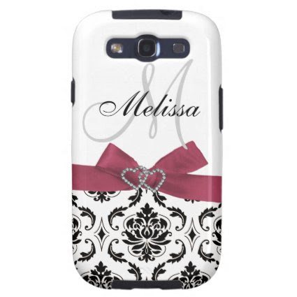 Personalized Black Damask Pink Bow Diamond Hearts Samsung Galaxy S3 Case