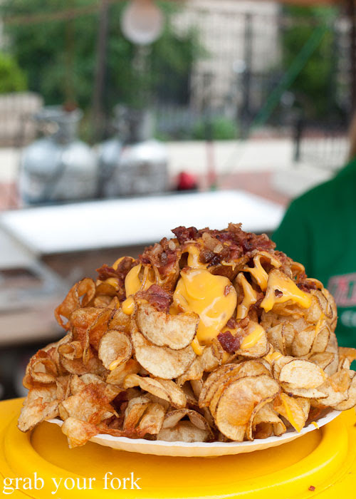 The Heart Attack homemade chips cheese bacon Genoa Italian Concessions Sausagefest Chicago Illinois