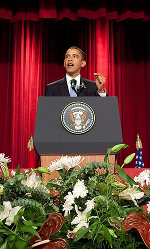 President Barack Obama speaks at Cairo Univers...