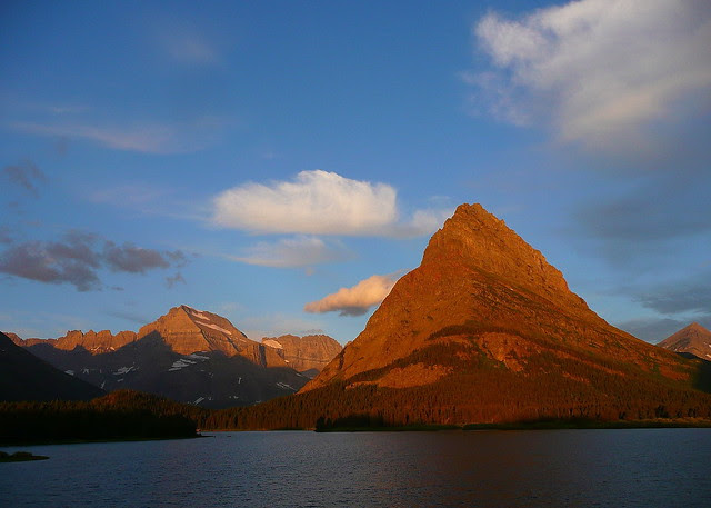 P1160840_7by5 Grinnel Point, Mt. Gould and Swiftcurrent Lake at Sunrise