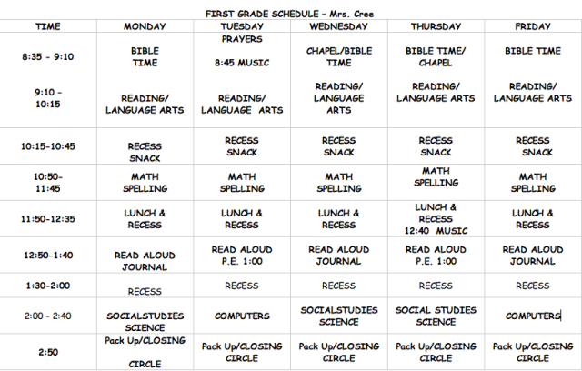 1st Grade Daily Schedule   Daily Planner