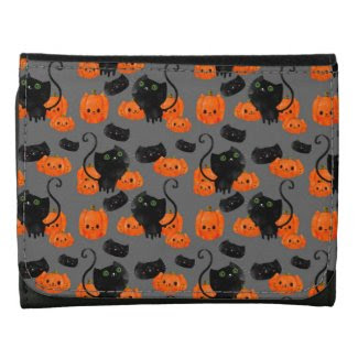 Halloween Cat with Pumpkins Pattern Leather Wallets