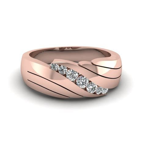 14K Rose Gold White Diamond Men's Wedding Ring