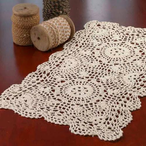 Google Express Ecru Oblong Crocheted Doily 18 Long X 12 Wide