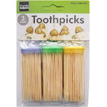 Handy Housewares 3-Pack Toothpick Travel Storage Containers with Dispenser Lids - Includes 150 Natural Wood Toothpicks