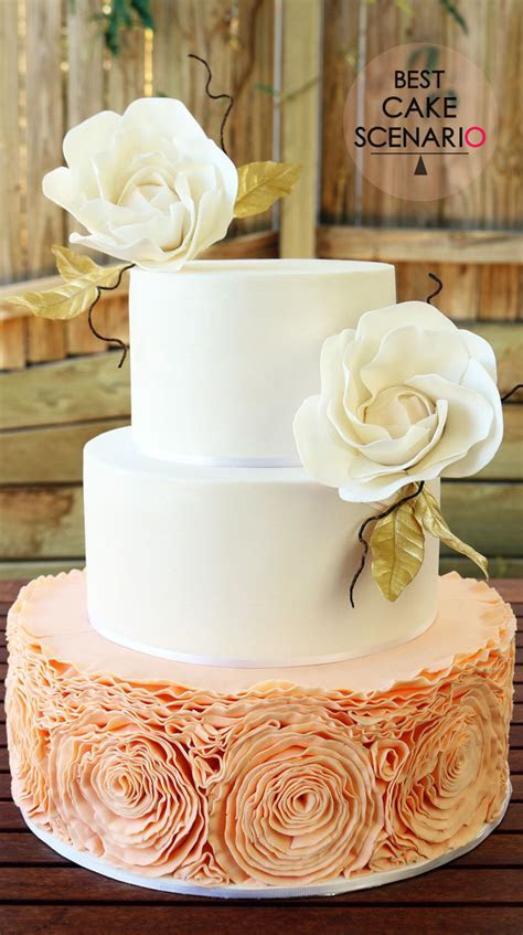 Peach Colored Ruffled Wedding Cake   CakeCentral.com