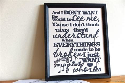 Any Text, Lyrics & Quotes Papercut. Traditional Frame