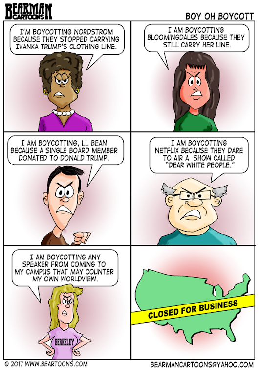 The Boycott Culture - Is it hurting American Business? - Bearman Cartoons