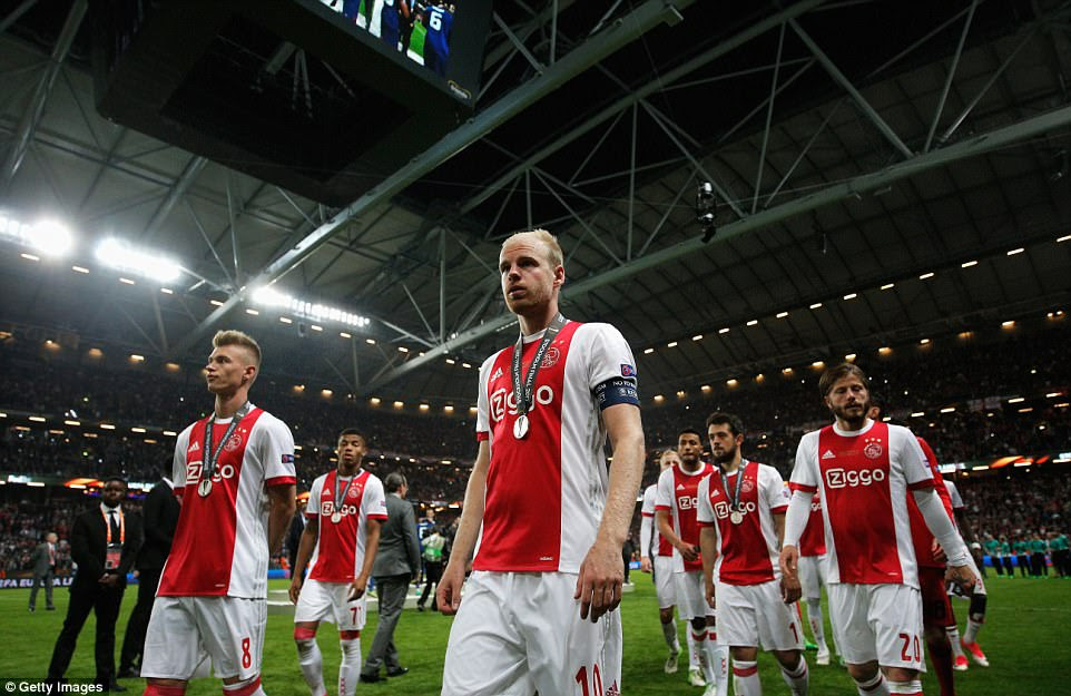 The dejected Ajax players look heartbroken on the Friends Arena pitch after being beaten by their Premier League opponents