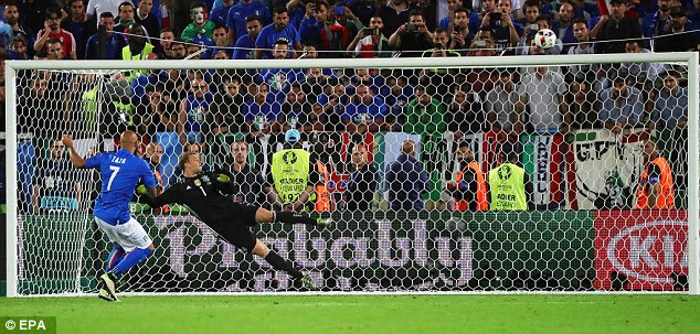 Simone Zaza came on to take a penalty for Italy and blasted his effort high over the crossbar