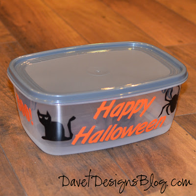 DIY Inexpensive Halloween Container using vinyl decals