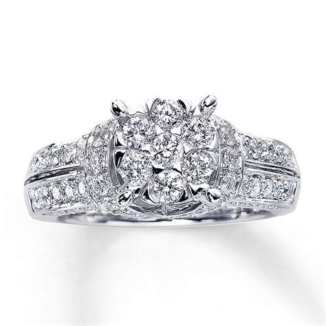 Diamond Engagement Ring 1 3/8 ct tw Round cut 14K White