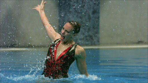 Action from the solo synchronised swimming