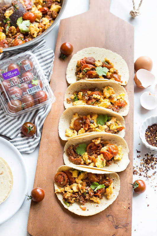 Skillet Breakfast Tacos with Chorizo and Sauteed Tomatoes