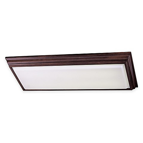 Minka Lavery® 4Light FlushMount Kitchen Fluorescent Ceiling Fixture in Walnut w/Acrylic Shade