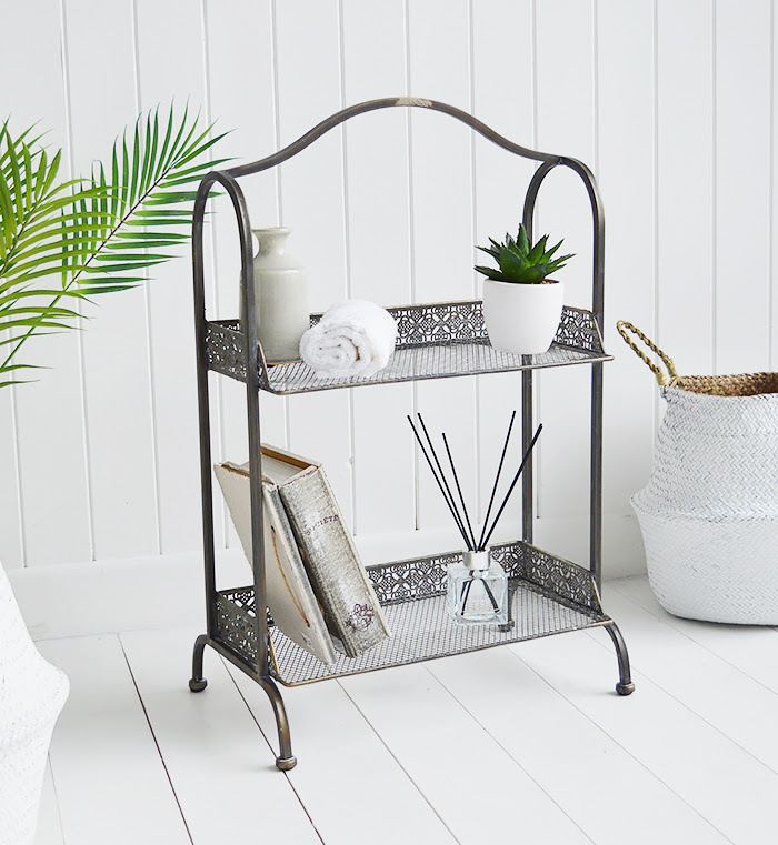 Provence freestanding shelf unit in aged bronze from The White Lighthouse Small Hallway furniture Furniture